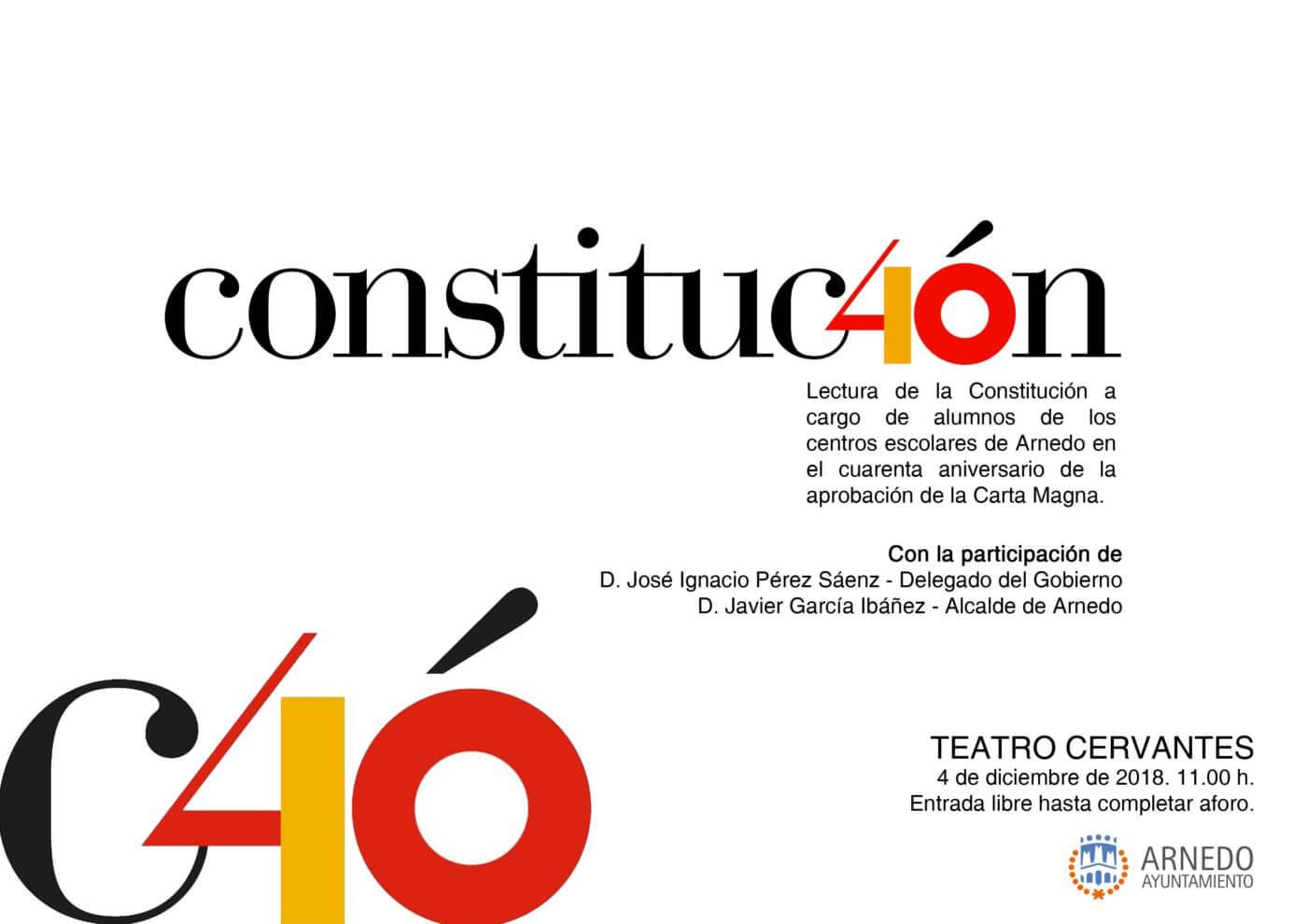 El teatro Cervantes de Arnedo acoge este martes 4 de diciembre un acto institucional del 40 aniversario de la Constitución Española