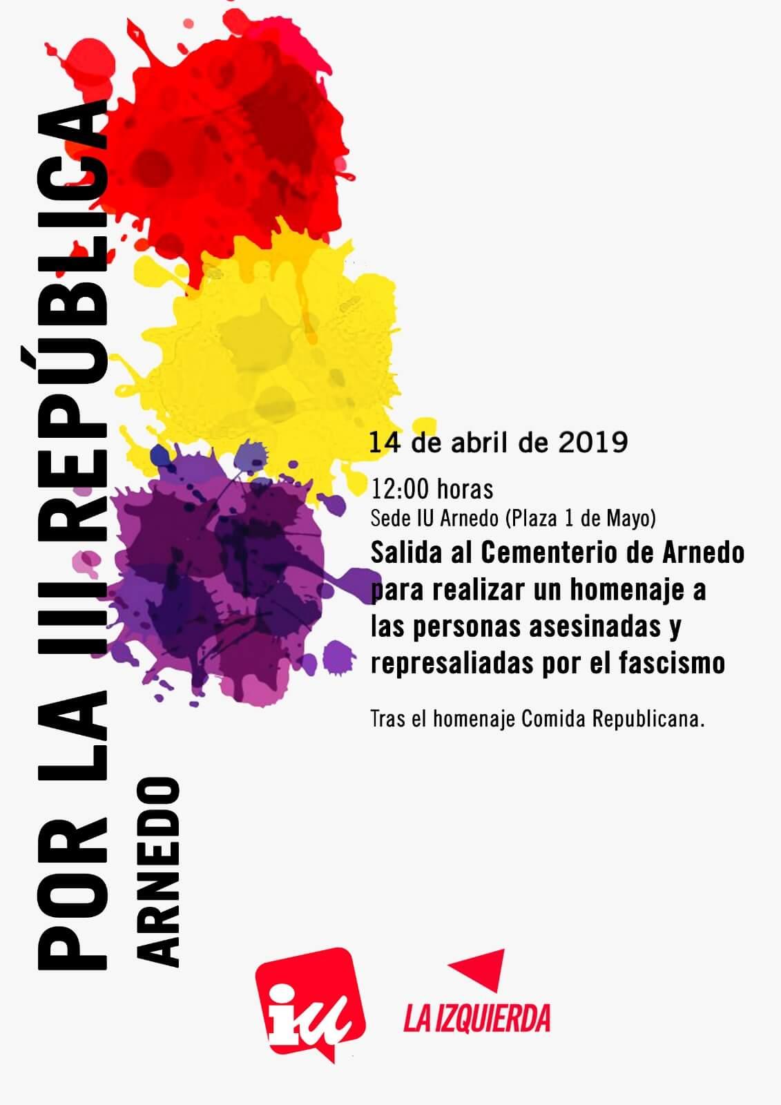 IU Arnedo celebra este domingo 14 de abril el 88 aniversario de la II República