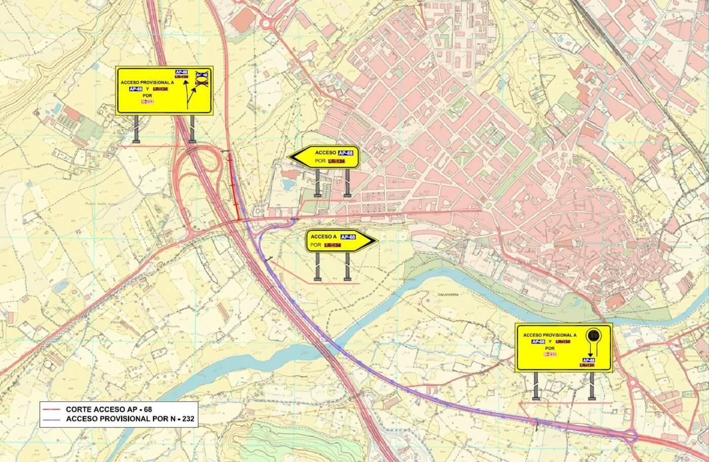 Cortes al tráfico en los accesos a Calahorra por las obras en los puentes sobre la N-232 y la autopista