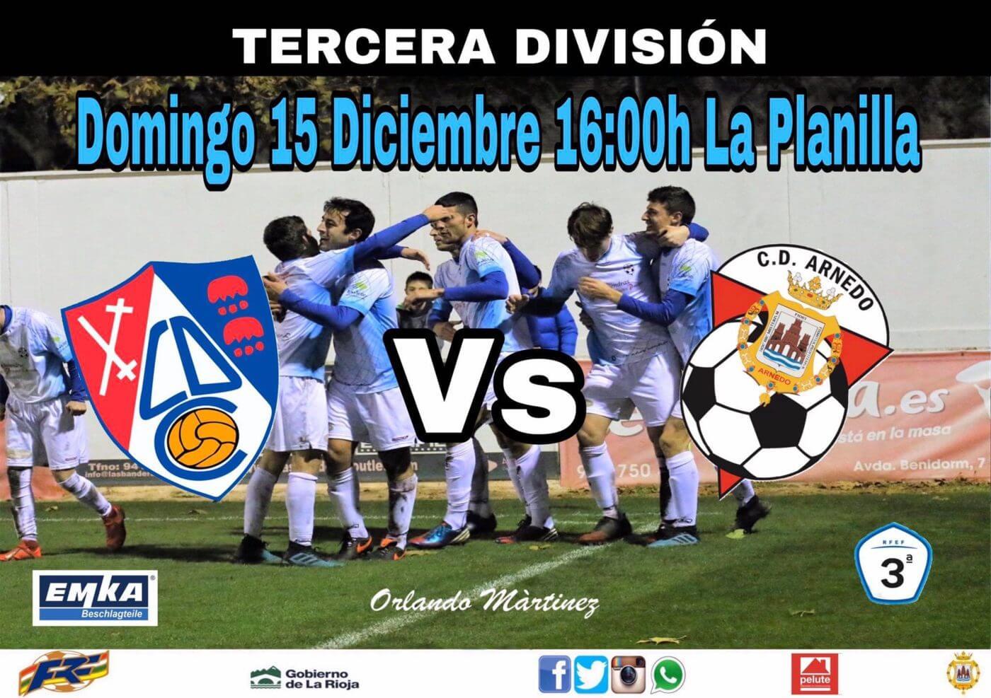 CD Arnedo juega el domingo 15 de diciembre en 'La Planilla' contra el Calahorra B