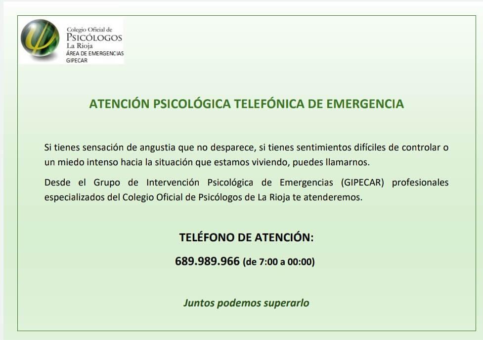 Especialistas del Colegio Oficial de Psicólogos de La Rioja ofrecen atención psicológica telefónica