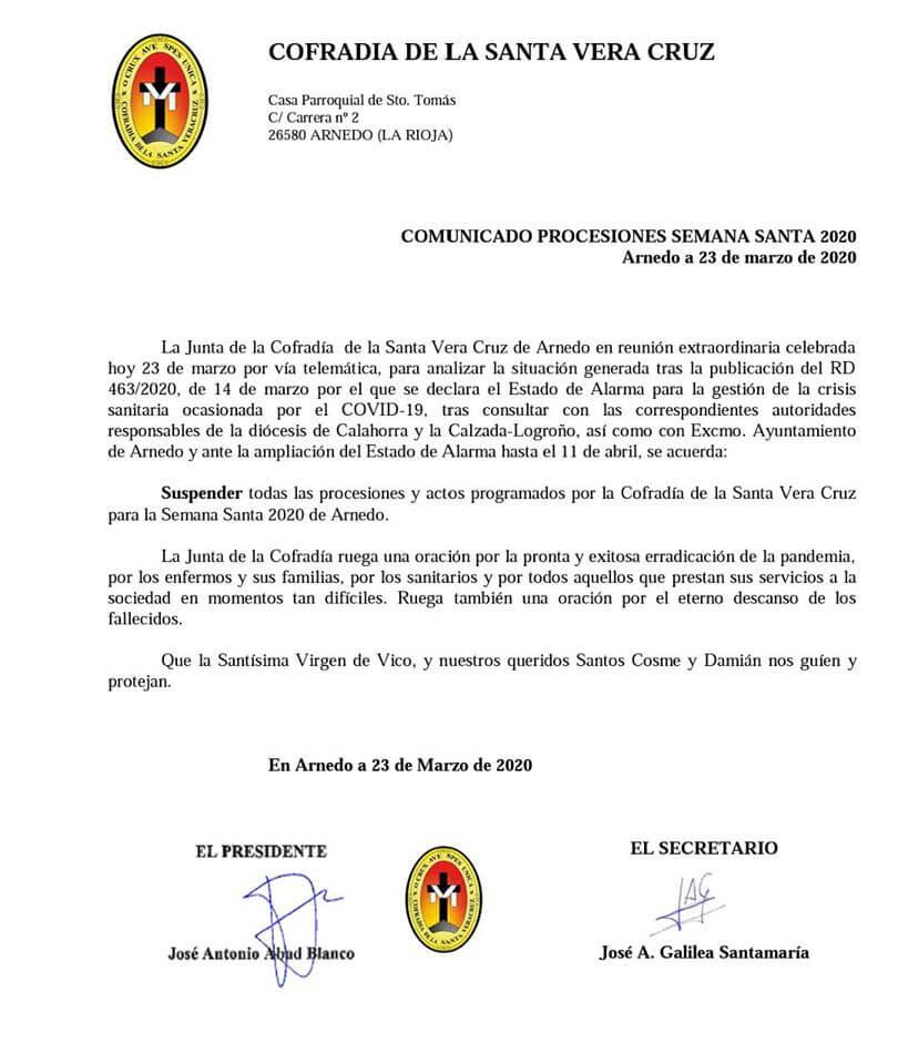 La Cofradía de la Vera Cruz de Arnedo suspende todos los actos programados para la Semana Santa