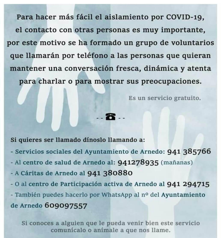 Un grupo de voluntarios ofrece en Arnedo ayuda y acompañamiento telefónico a personas que lo necesiten