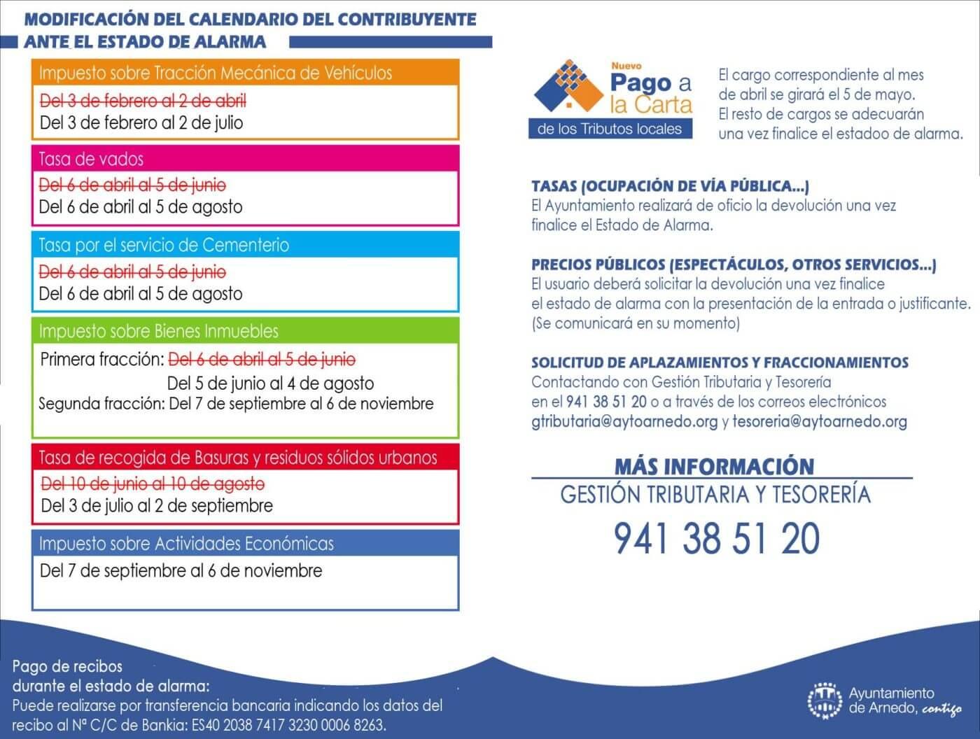 El Ayuntamiento de Arnedo aplaza el pago de diferentes tributos y tasas y amplía los plazos