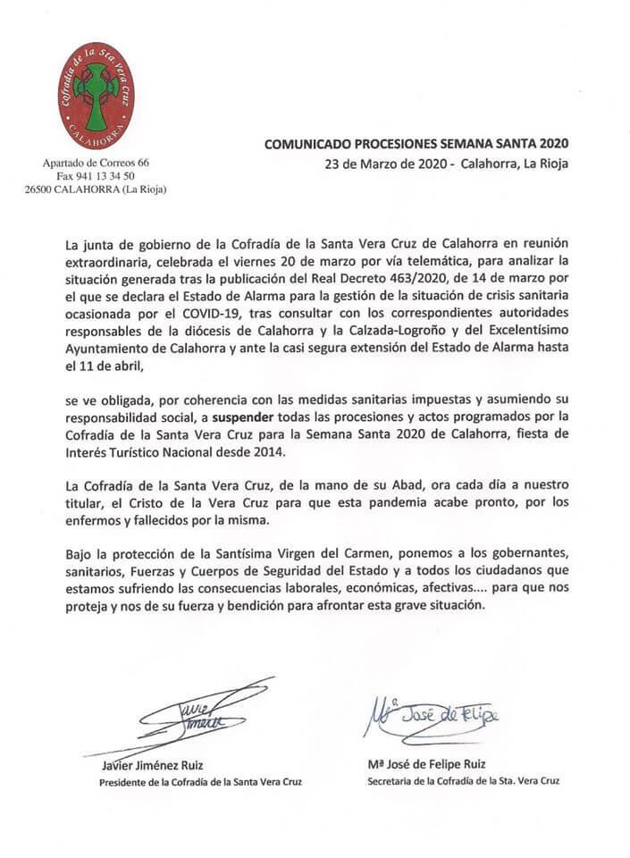 La Cofradía de la Vera Cruz de Calahorra suspende todo los actos de la Semana Santa 2020