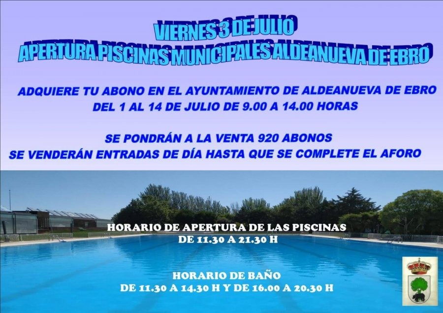 ALDEANUEVA cartel apertura piscinas