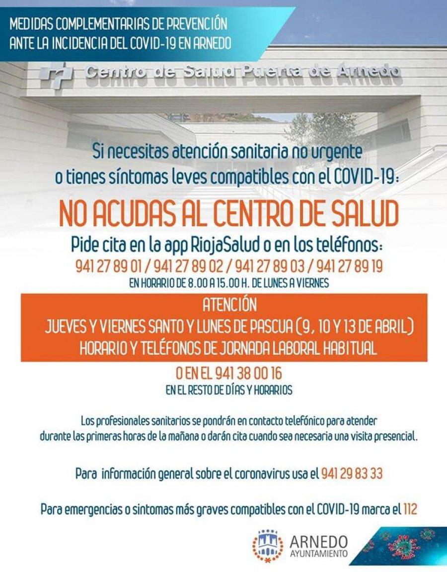 ARNEDO centro salud horarios Semana Santa