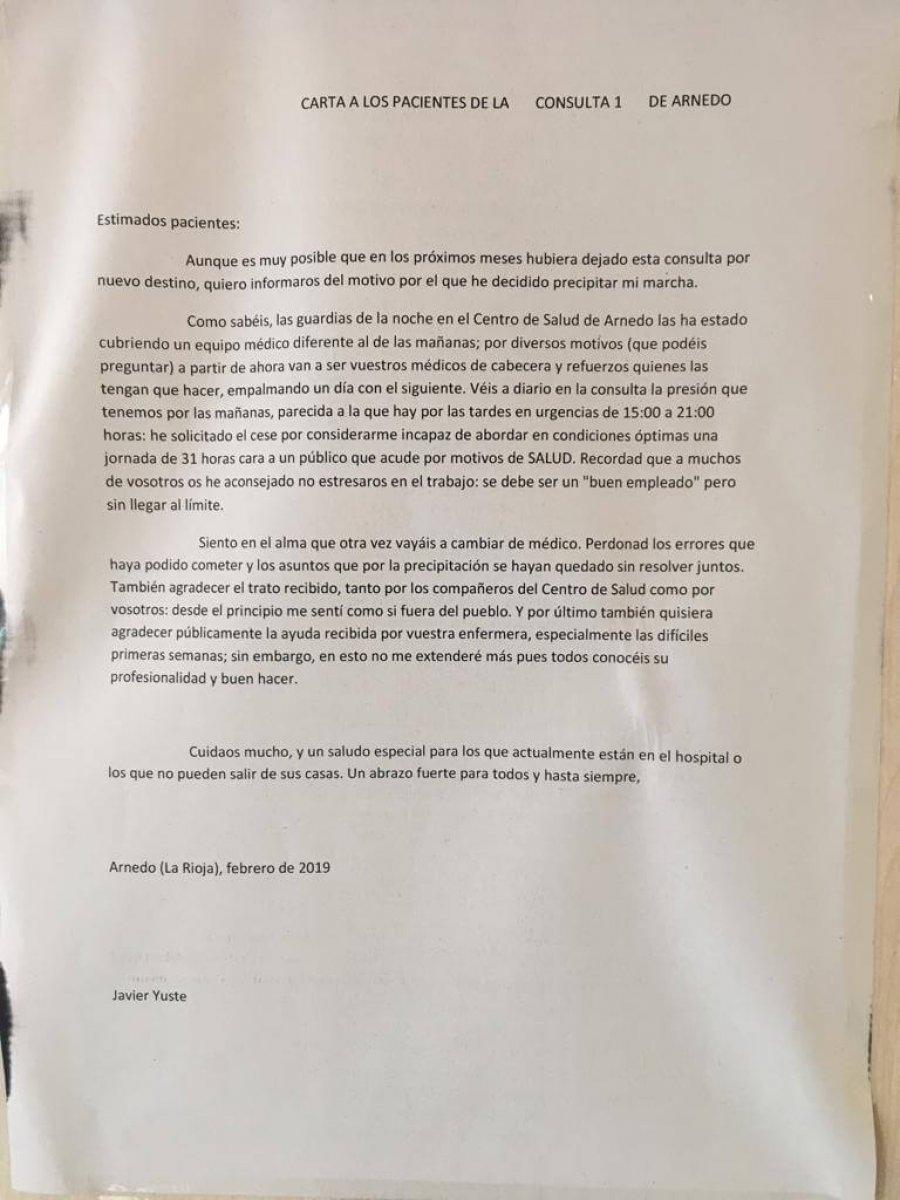 CARTA DESPEDIDA MEDICO JAVIER YUSTE