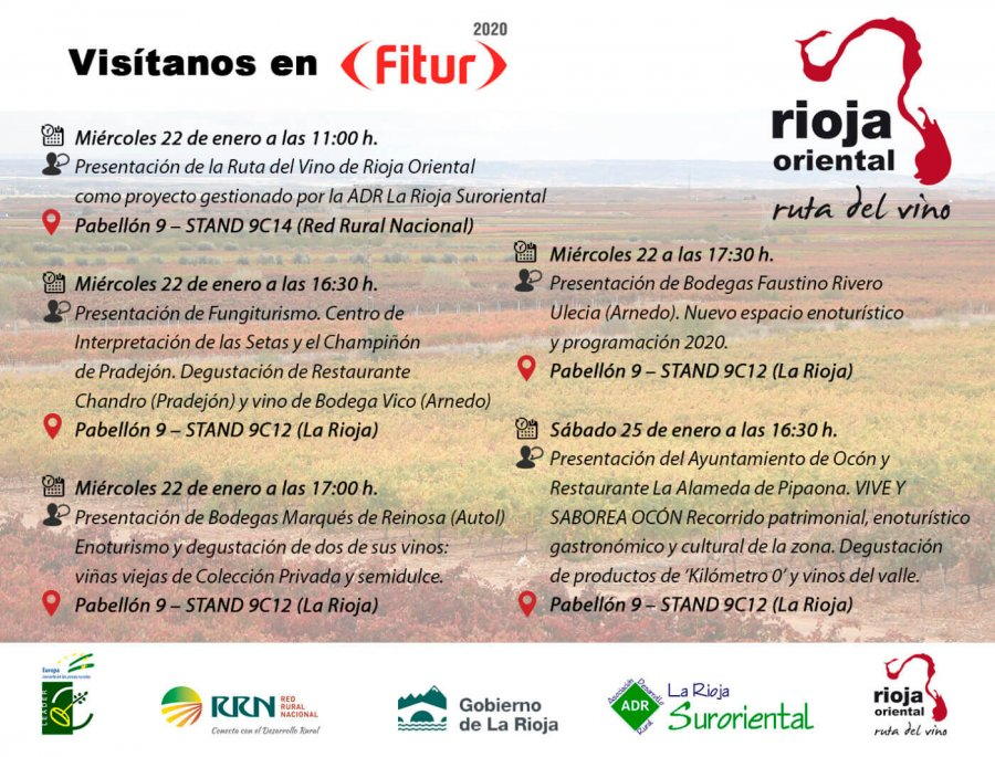 RUTA VINO RIOJA ORIENTAL cartel Fitur 2020